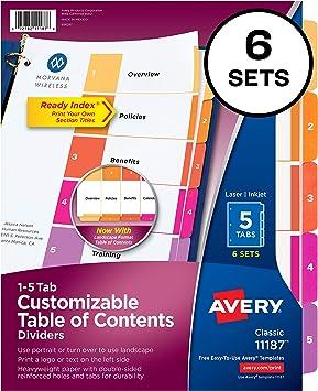 Amazon. Com: avery 5-tab print-on binder dividers, white tabs, 25.