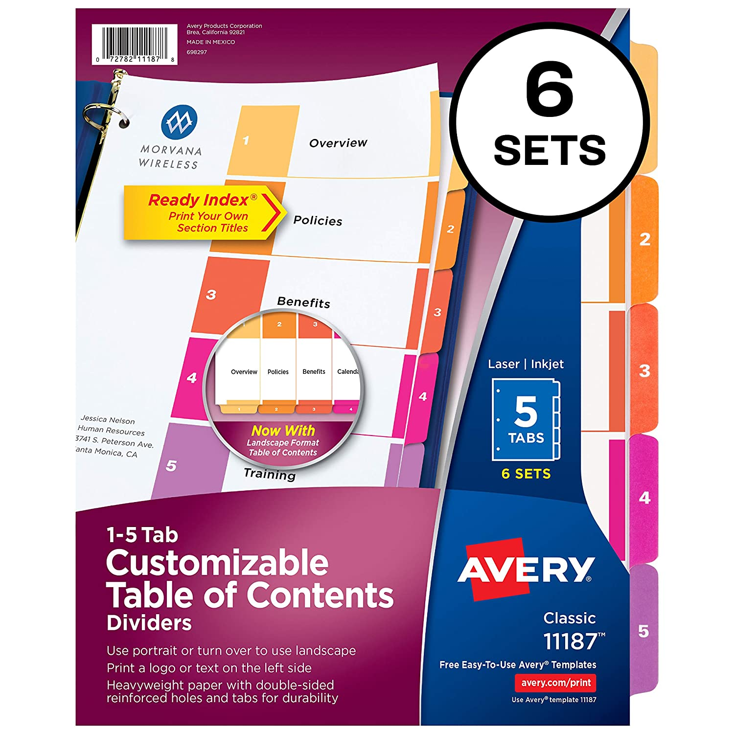 B00006IBW4 Avery 5-Tab Dividers for 3 Ring Binders, Customizable Table of Contents, Multicolor Tabs, 6 Sets (11187) 81AvU0QZ-IL