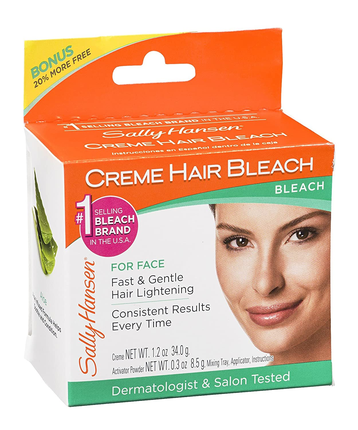 Creme Hair Bleach for Face Fast & Gentle With Soothing Aloe by Sally Hansen for Women - 1 Pack Bleach For Face