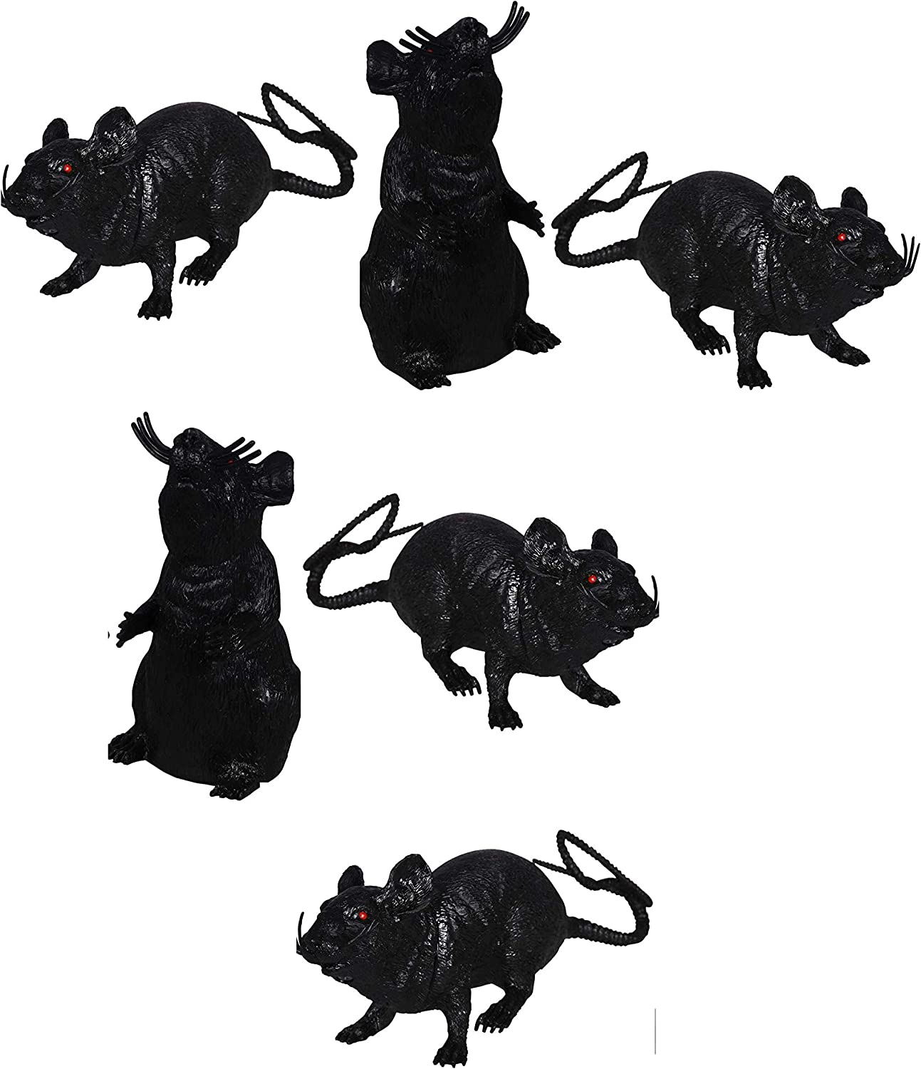 Black 6-Pack Greenbrier Plastic Squeezable Squeaking Rats Spooky Scary Creepy Halloween Decor