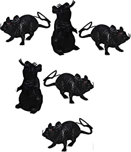 Greenbrier Plastic Squeezable Squeaking Rats Spooky Scary Creepy Halloween Decor (Black 6-Pack)