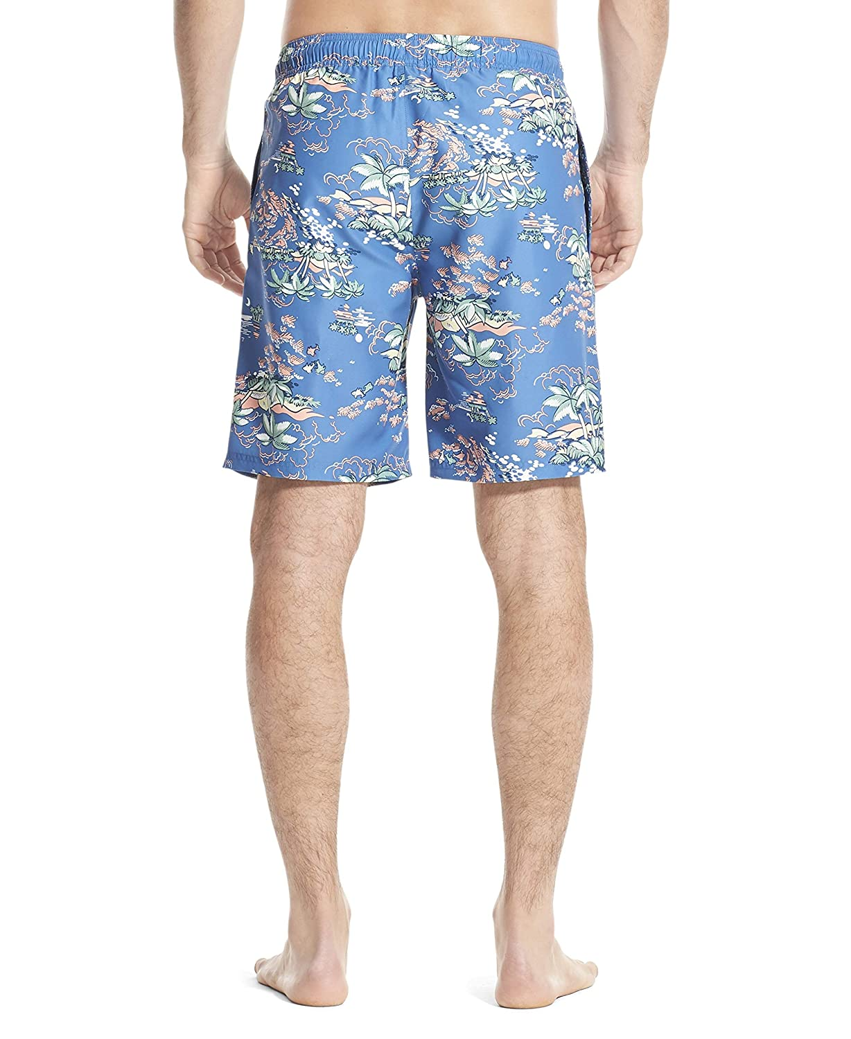 IZOD Mens Printed Swim Trunks with Mesh Lining