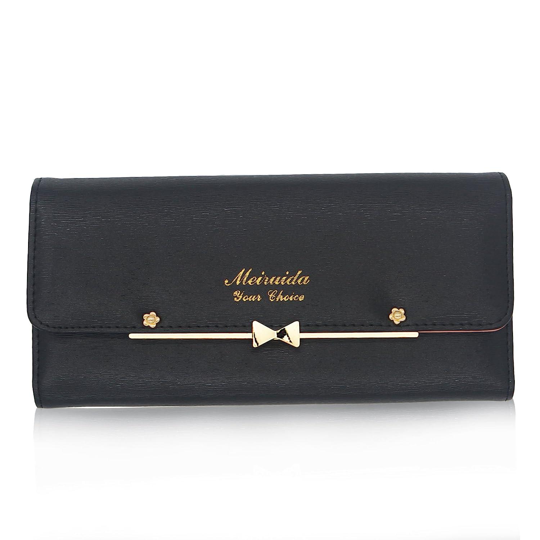 Black Woolala Women Cute Bowknot Wallet Trifold Large Capacity Long Purse