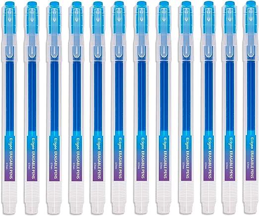 Bolígrafo Borrable Punta 0.7 mm –Bolígrafo de Tinta Borrable Recargable azul Paquete de 12 - Ezigoo - 9BL000: Amazon.es: Oficina y papelería