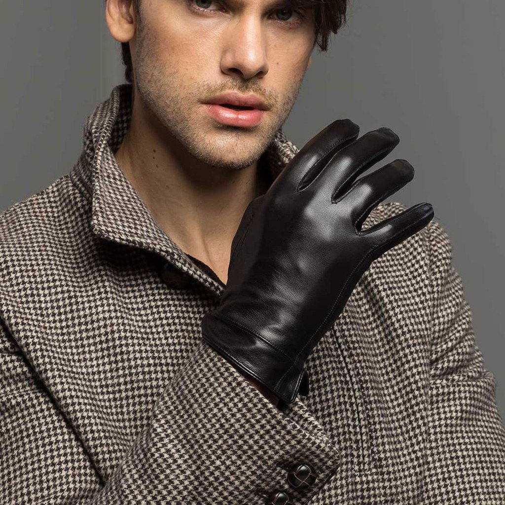 XOMO Mens Winter Warm Lambskin Leather Gloves For Men Racing