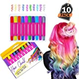 Kompanion Hair Chalk Gift for Girls, 10 Assorted Colours, Non-Toxic, Easy Wash with No Mess, For All Hair Colours and Types to use for Parties, Stage Plays, Carnivals and Festivals