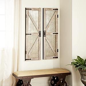 Deco 79 89356 Barn Door Wall Panel, Gray/Brown/Black