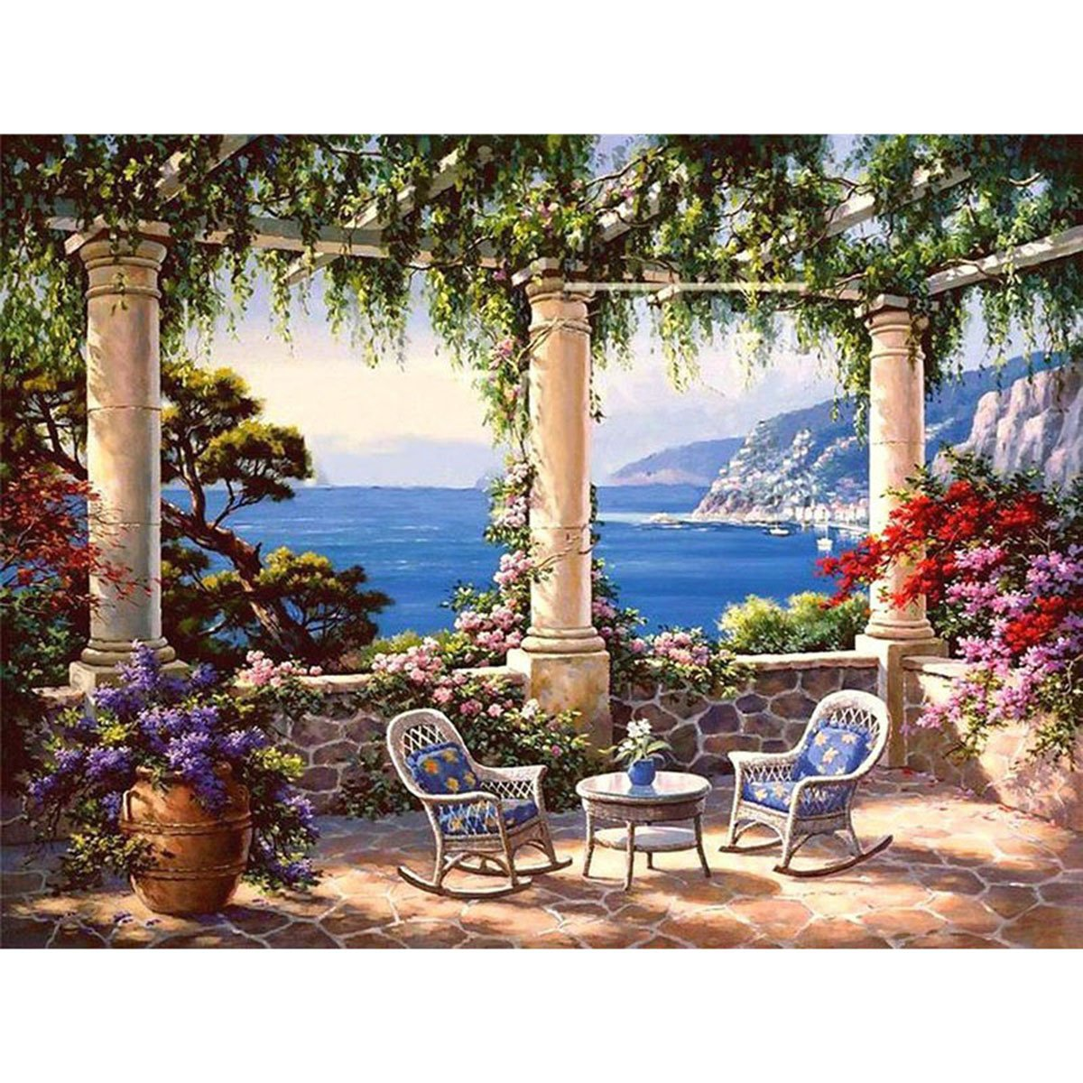 Shukqueen Diy Oil Painting, Adult's Paint by Number Kits, Acrylic Painting Garden Balcony by the Sea 16X20 Inch (Framed Canvas)