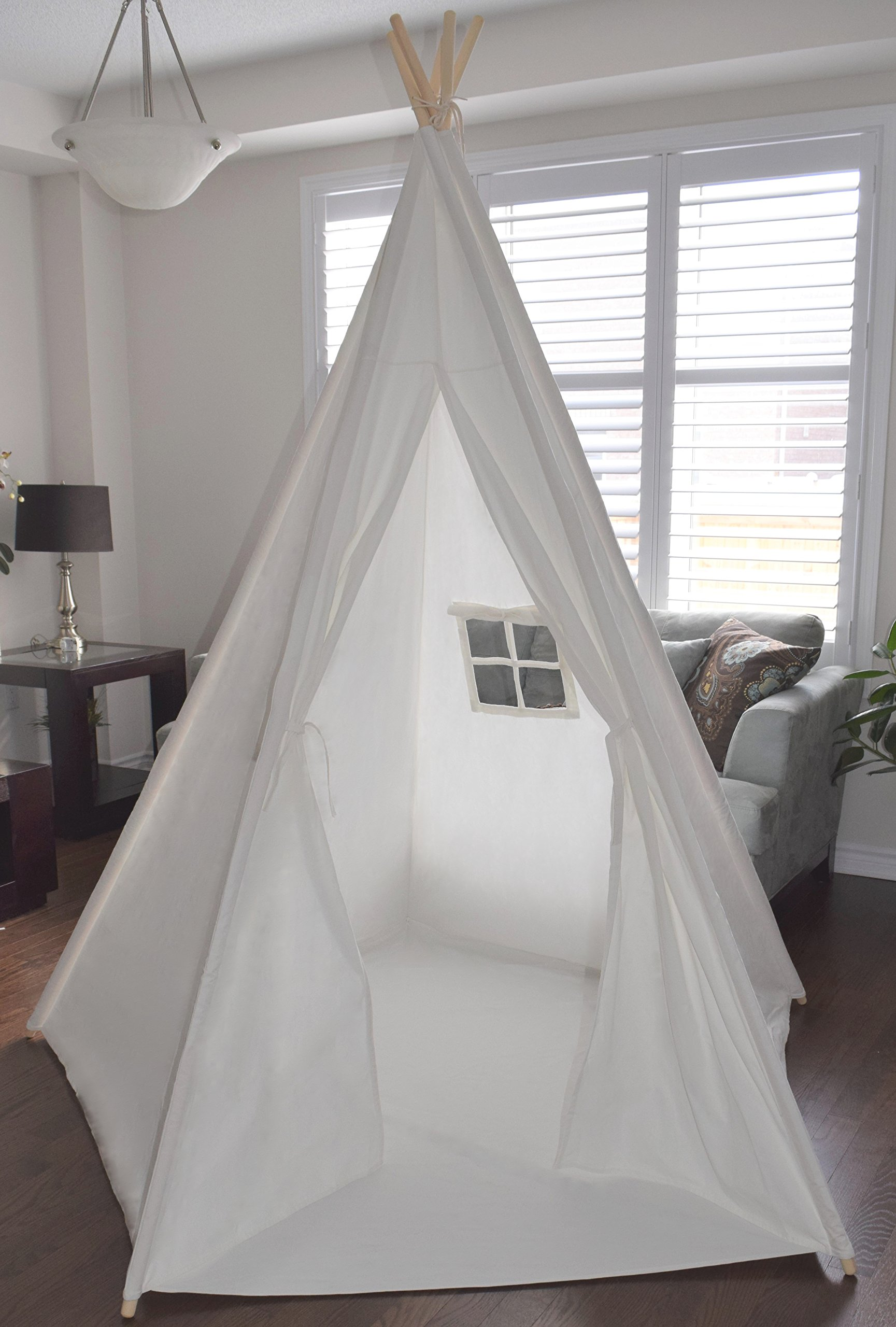 Giant 7' 2'' White Canvas Teepee for Kids - Foldable Play Tent, Playhouse for Children; 5 Sides; with Floor, Window and Inside Pocket