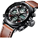 Mens Sports Watches Men Military Waterproof Big Face Analog Digital Brown Leather Band Wrist Watch