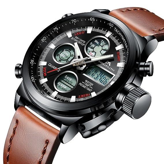 Mens relojes deportivos Hombres Militar impermeable Big Face analógico Digital reloj de pulsera con banda de piel auténtica marrón: Amazon.es: Relojes