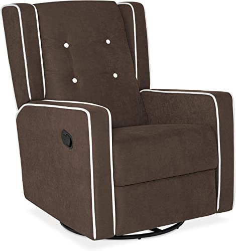 Best Choice Products Microfiber Tufted Mid-Century Velvet Upholstered Glider Recliner Lounge Rocking Chair w/ 360-Degree Swivel