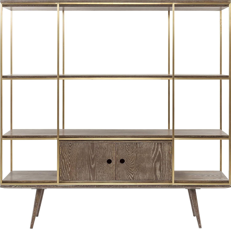 183x180x45cm Kare Design Regal Showcase Storm sehr edel und gro/ßes Standregal, B/ücherregal aus Stahl mit Regalw/änden und einer Doppelt/ür f/ür das Wohnzimmer H//B//T goldener Rahmen