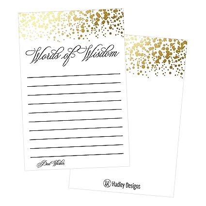 Amazon.com : 50 Gold Words of Wisdom Advice Cards, Use As Graduation ...