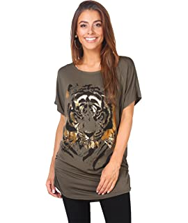 b21dcbb1 Krisp Women Oversized Casual Tshirt Baggy Tiger Flower Printed Batwing Tops