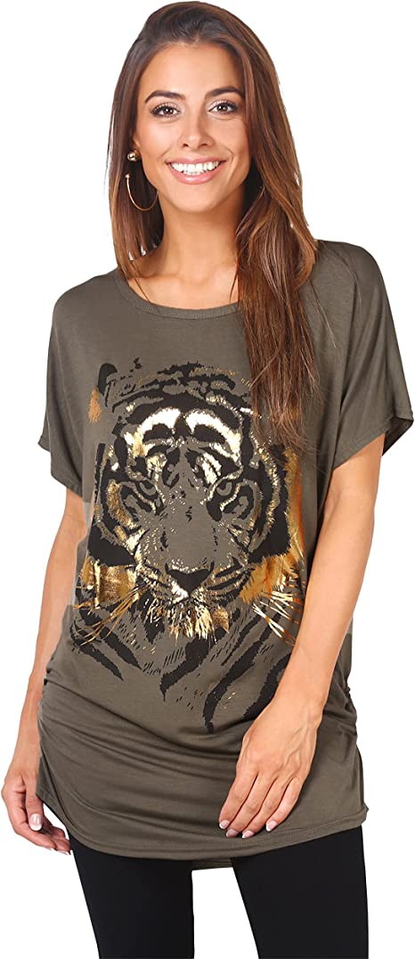 NEW TIGER PRINT JERSEY TUNIC SLOUCH DRESS TOP SIZE 8 10 12 14