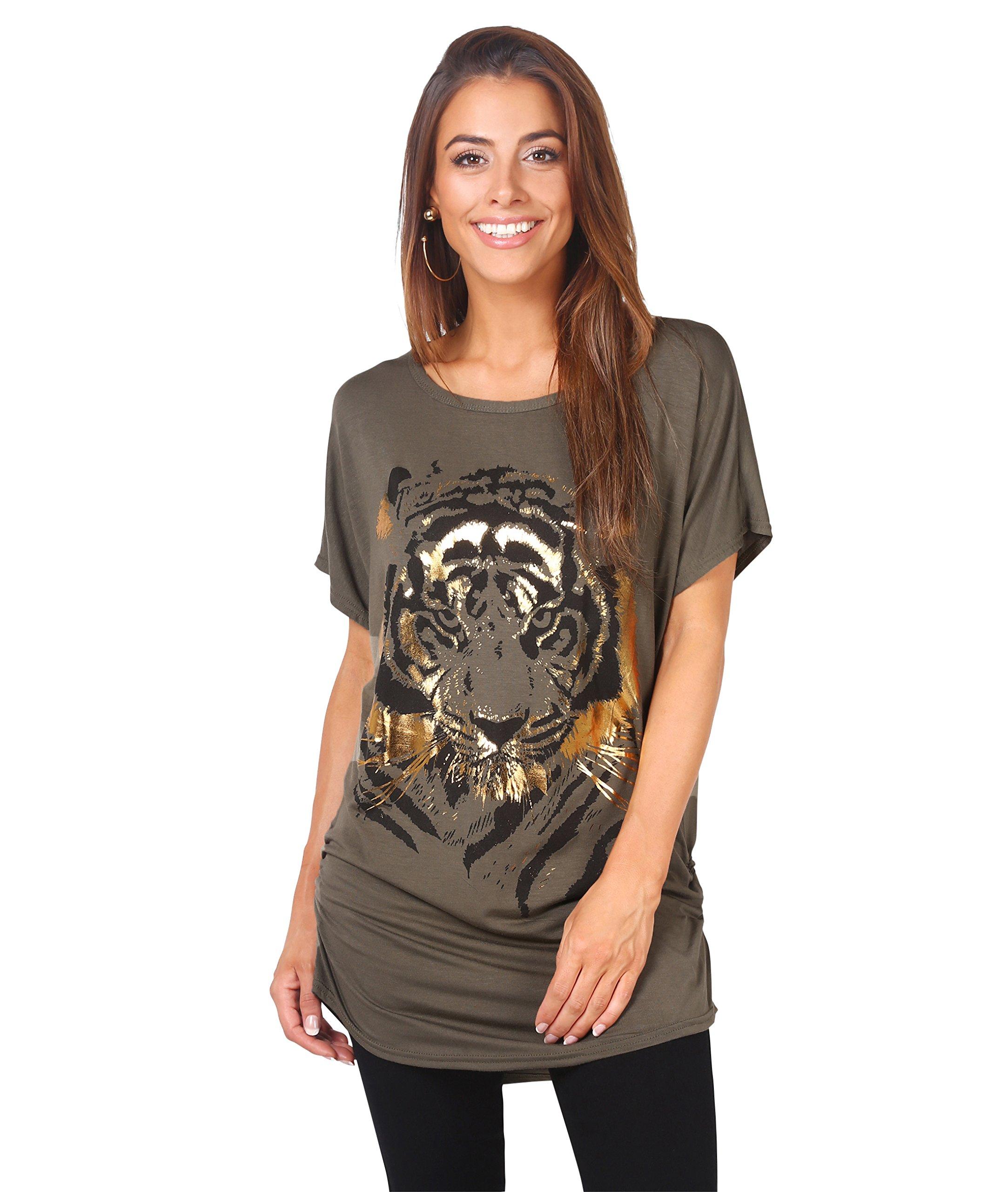 082195ff5 Galleon - KRISP Oversize Shiny Tiger Print T-Shirt (Khaki, 10),[2093-KHA-14]