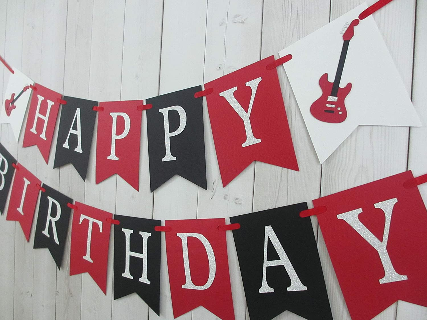 Guitar Rock Happy Birthday Party Banner Sign Red Black Silver Music