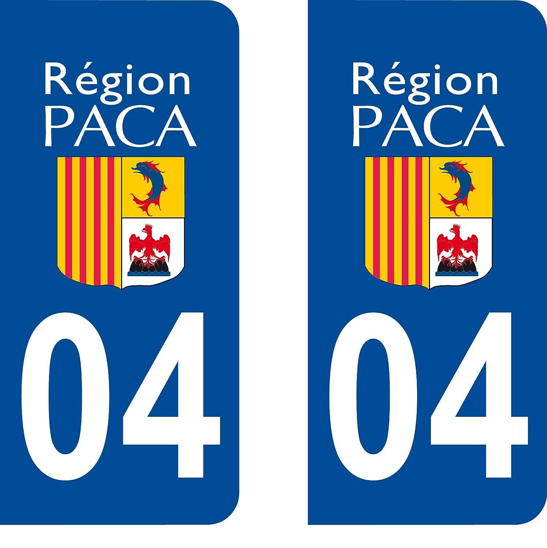 high-quality 2 Stickers Autocollant style Plaque Immatriculation département 04
