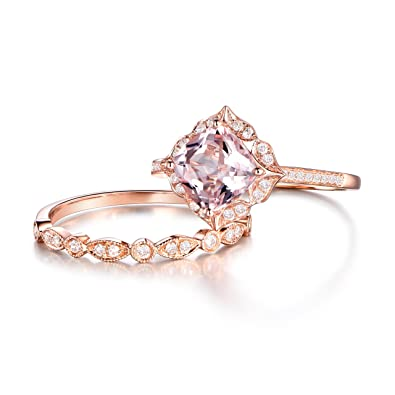 2pcs morganite bridal ring setengagement ring rose golddiamond wedding band14k - Morganite Wedding Ring Set