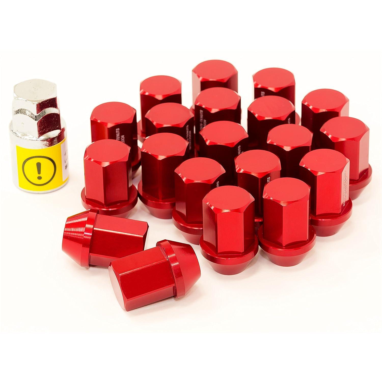 LYZER ジュラルミンナット 袋型 34mm 20本 【M12*P1.5 】レッド DN-0019 B074X6B5B1