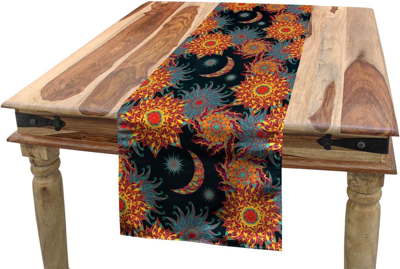 home decor silk floral arrangement floral decor tropical.htm amazon com lunarable sun and moon table runner  tropical floral  lunarable sun and moon table runner