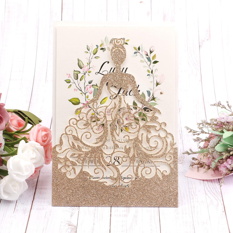 HIGHYI Wedding Invitation Card-Laser Cut Rose Gold Glitter Hollow Bride 25PCS Paper Card Set For Wedding Engagement Birthday Baby Shower Dinner (DIY Blank Inner Sheet) by HIGHYI (Image #5)