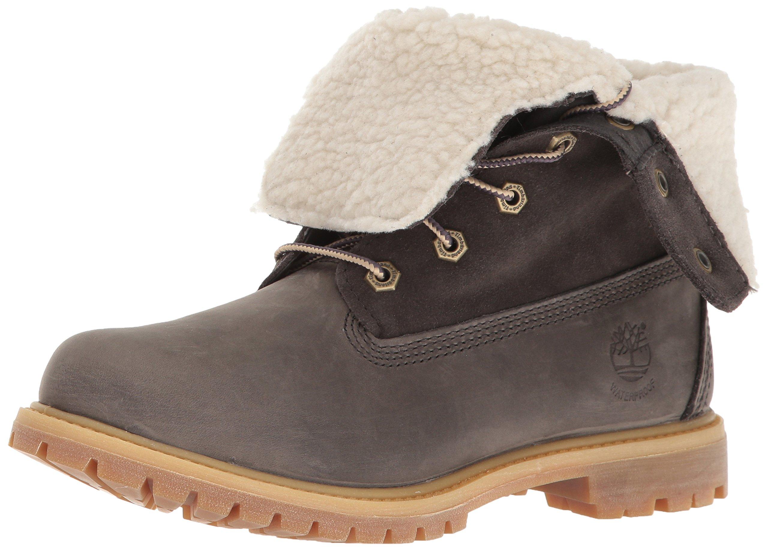 Timberland Women's EK Authentics Teddy Fleece WP Snow Boot,Dark Grey,8 M US