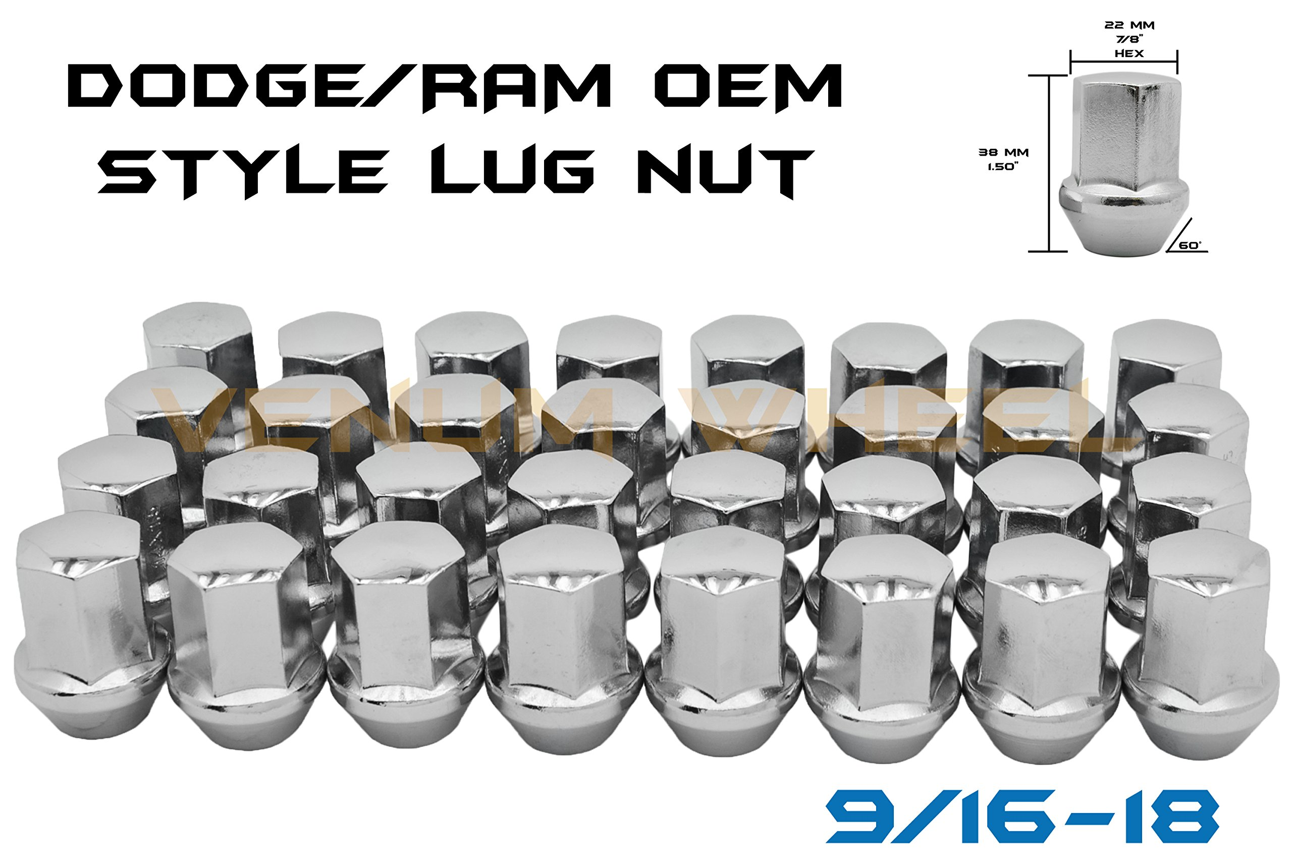 Venum wheel accessories 20 Pc 9/16'' OEM Style Factory Lug Nuts   Works 2002-2011 Dodge Ram 1500 Dakota & Durango