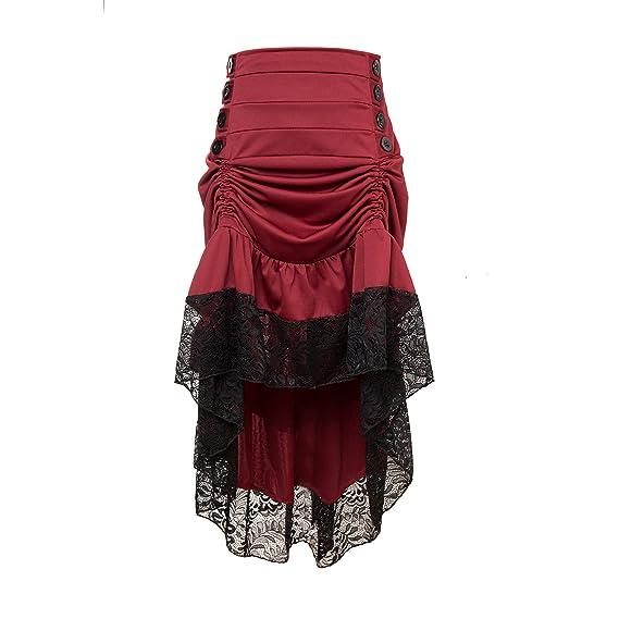 Zooma Gothic Steampunk Vintage Algodón Faldas, Falda Asimétrica ...