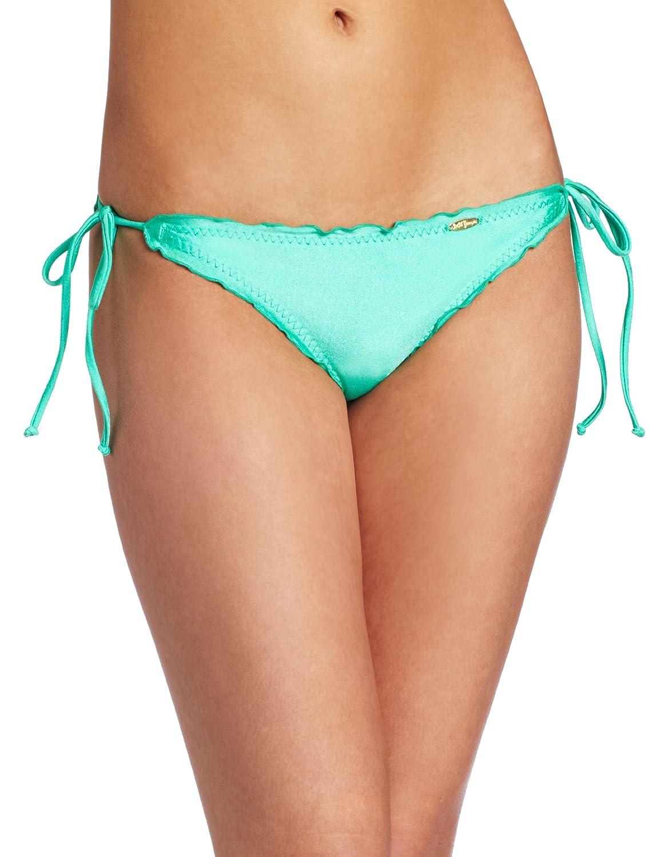 Luli Fama Womens Cosita Buena Wavy Tie-Side Brazilian Bikini Bottom