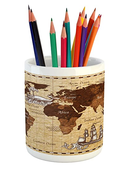 Amazon ambesonne map pencil pen holder hand drawn sketch retro ambesonne map pencil pen holder hand drawn sketch retro world map with lettering old historic gumiabroncs Image collections