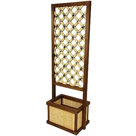 Oriental Furniture 6 Feet Tall Japanese Bamboo Trellis w Planter