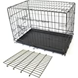 "PETJOINT Pet Dog Crate + Divider | Metal Folding Cage Portable Kennel House Training Puppy Kitten Cat Rabbit with Removable Tray (XL 42"" + Divider)"