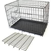 "PETJOINT Pet Dog Crate + Divider | Metal Folding Cage Portable Kennel House Training Puppy Kitten Cat Rabbit with Removable Tray (Small 24"" + Divider)"