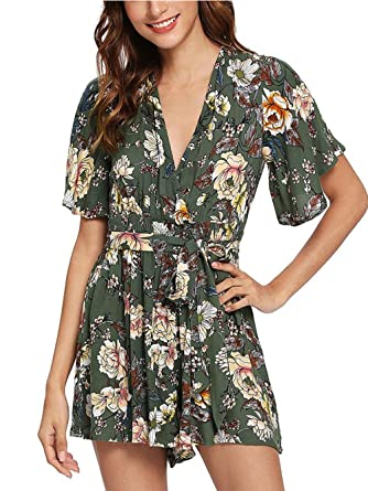 e6a7ab928cb2 SheIn Women s V Neck Floral Print Tie Waist Short Romper Jumpsuit Small  Army Green