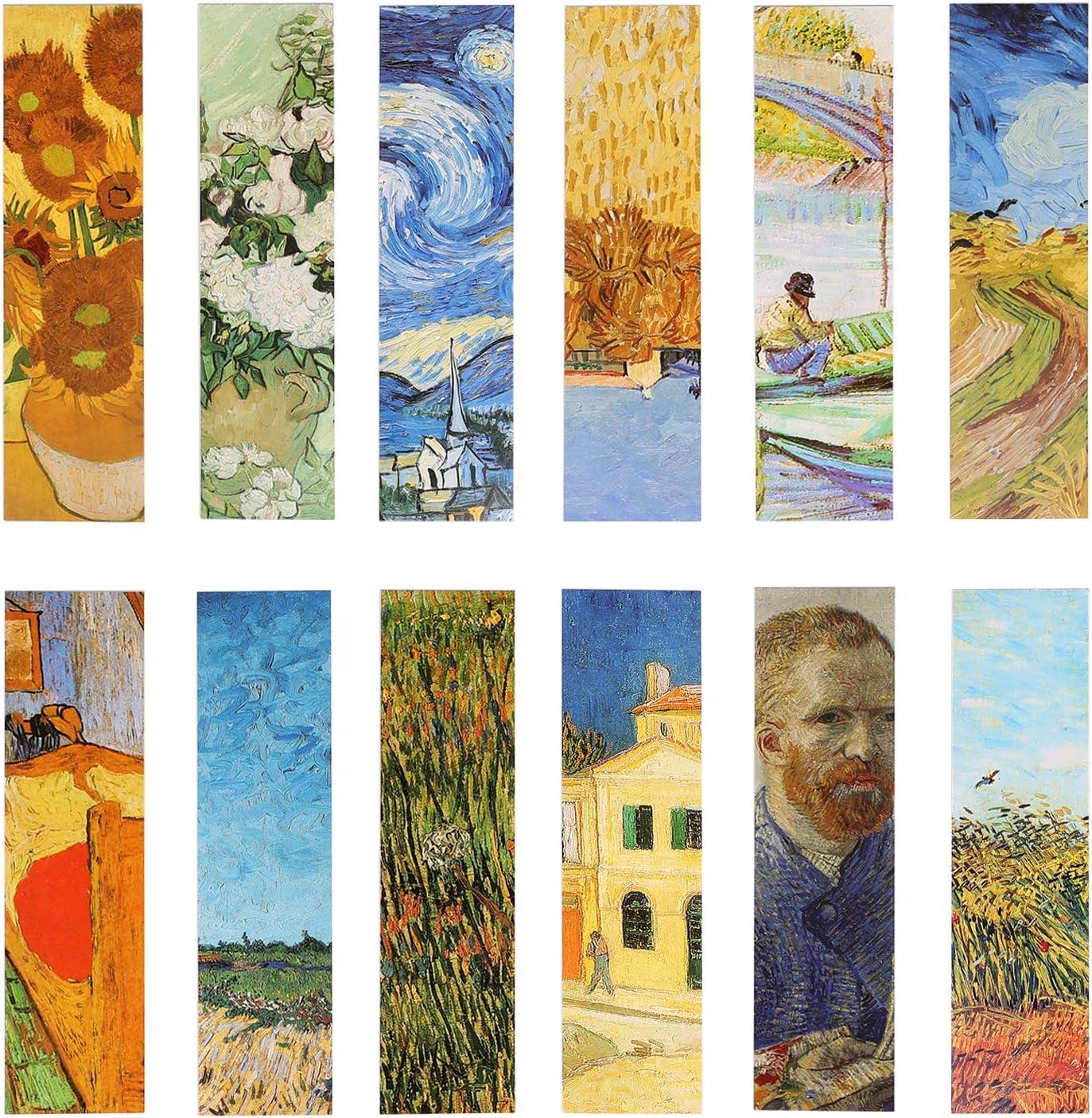 Pack de 30 marcapáginas con diseño de pinturas al óleo de Van Gogh. Para mujeres, hombres, niños y niñas