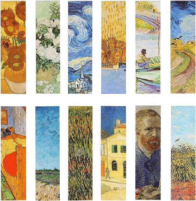 Pack de 30 marcapáginas con diseño de pinturas al óleo de Van Gogh. Para mujeres, hombres, niños y niñas: Amazon.es: Oficina y papelería