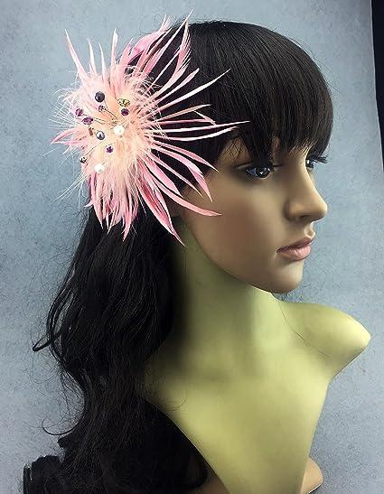 Fascinator piuma di pavone copricapo da matrimonio per capelli con strass cfc13955a5b1