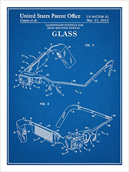Amazon google glass wearable computer patent print art poster google glass wearable computer patent print art poster unframed blueprint 18quot malvernweather Images