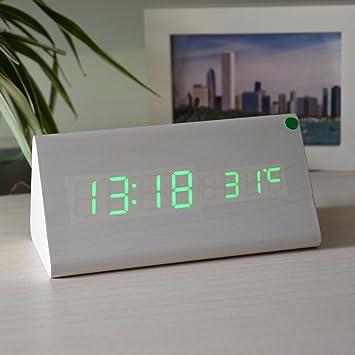 KHSKX Reloj de Madera triángulo LED Creativa, exhibición de la Temperatura, Innovador Despertador, Reloj Digital, Reloj Dual de Control de Voz, ...
