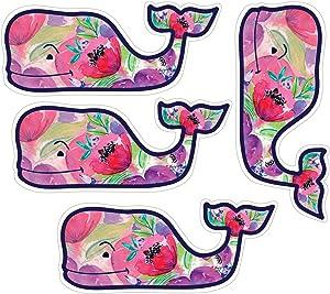 """Vineyard Vines Colorful Flower Whale Stickers, Vinyl Decal - UV Protected & Waterproof, 2"""" x 4.5"""" Pack of 4"""