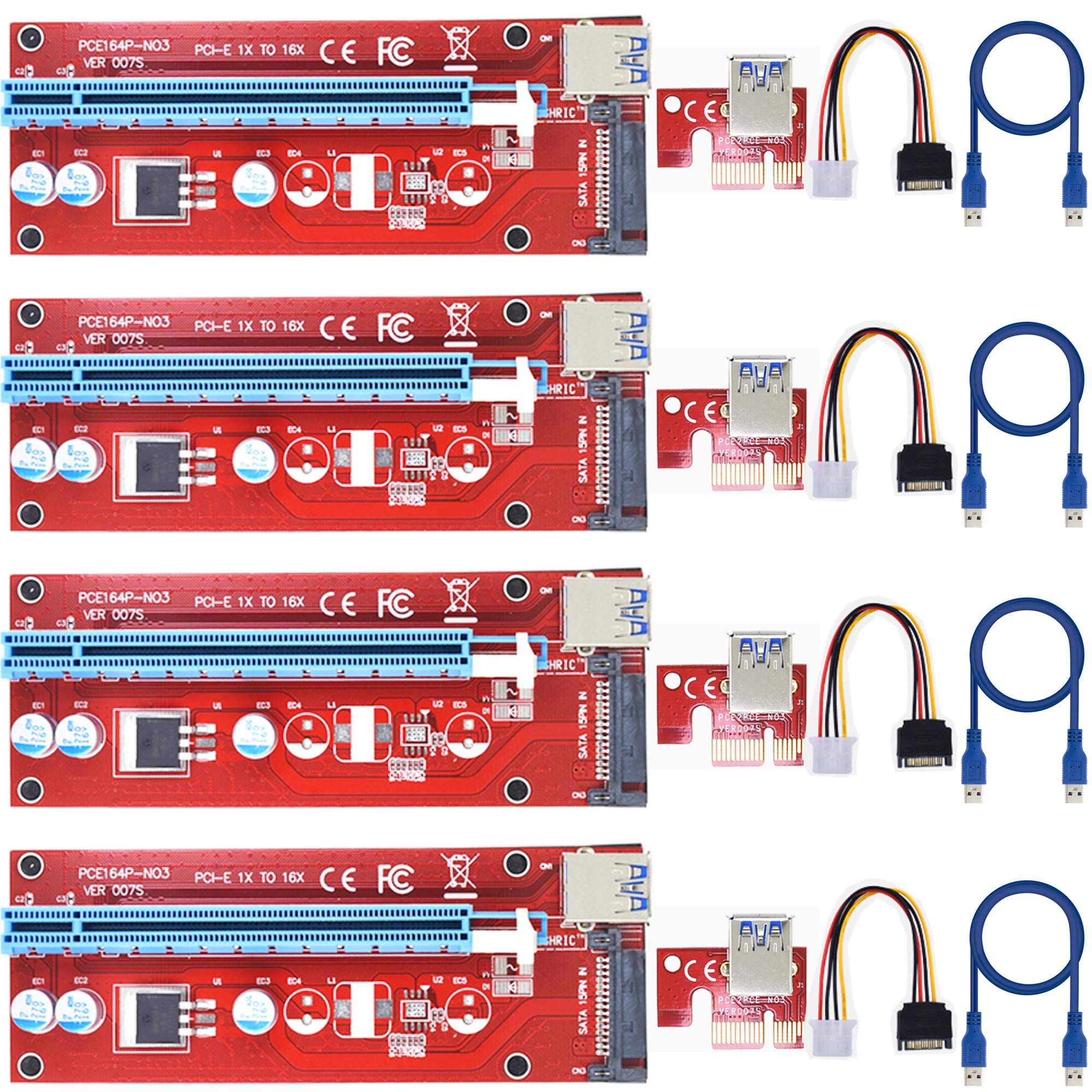 4 Pci-e Riser VER 007S Cripto mineria Con Cable SATA LEAGY