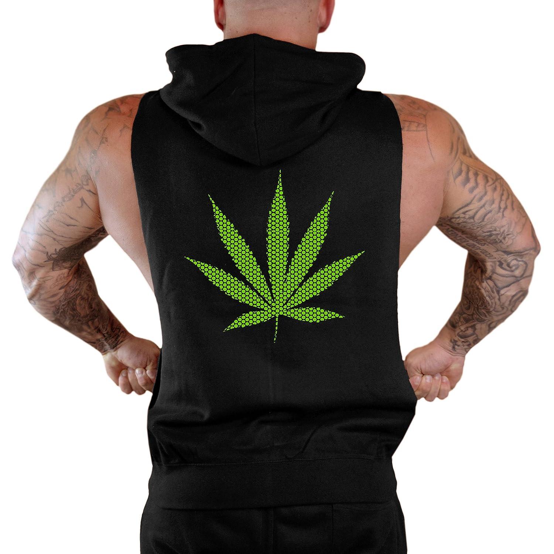 Mens Green Polka Dot Weed Leaf Sleeveless Zipper Hoodie
