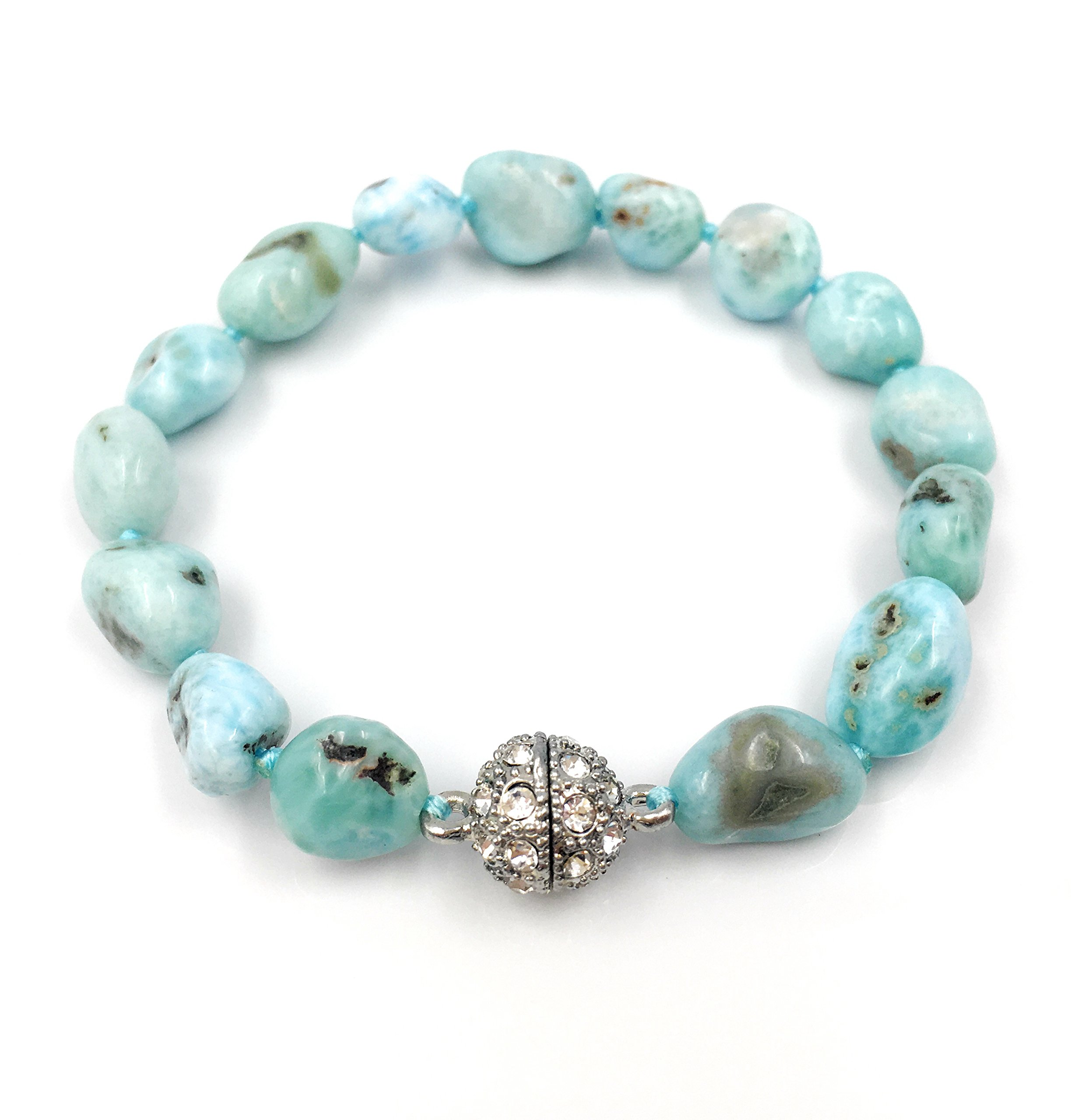 Natural Stone Larimar Bracelet Crystal Magnet Clasp 7.5'' ... by Lii Ji