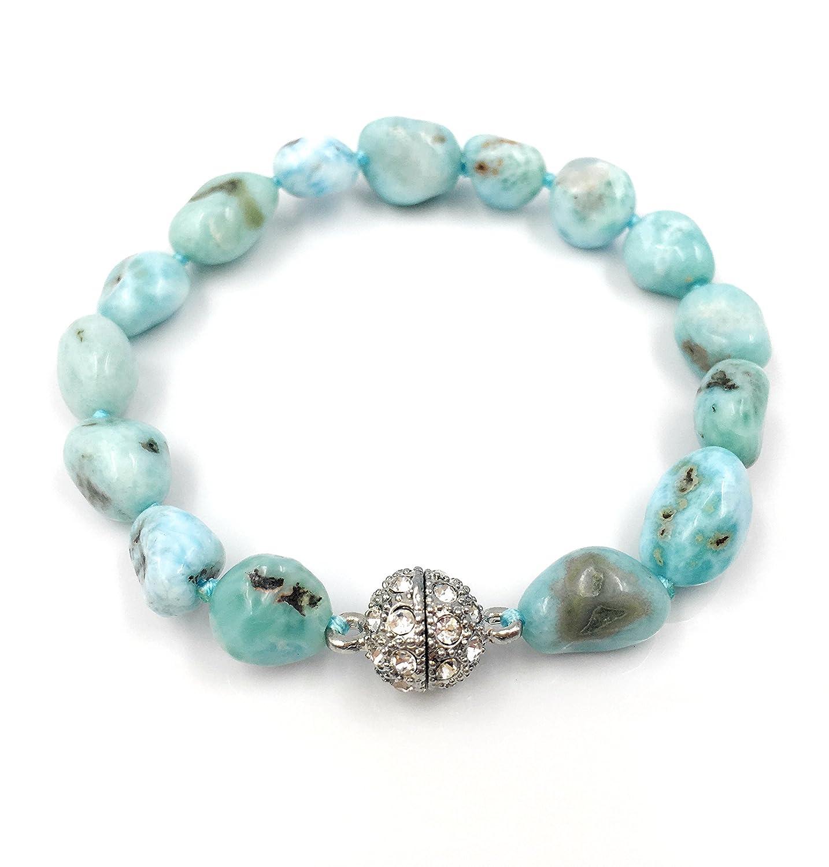 Natural Stone Larimar Bracelet Crystal Magnet Clasp 7.5 Lii Ji Jewelry B071VDZW5J_US