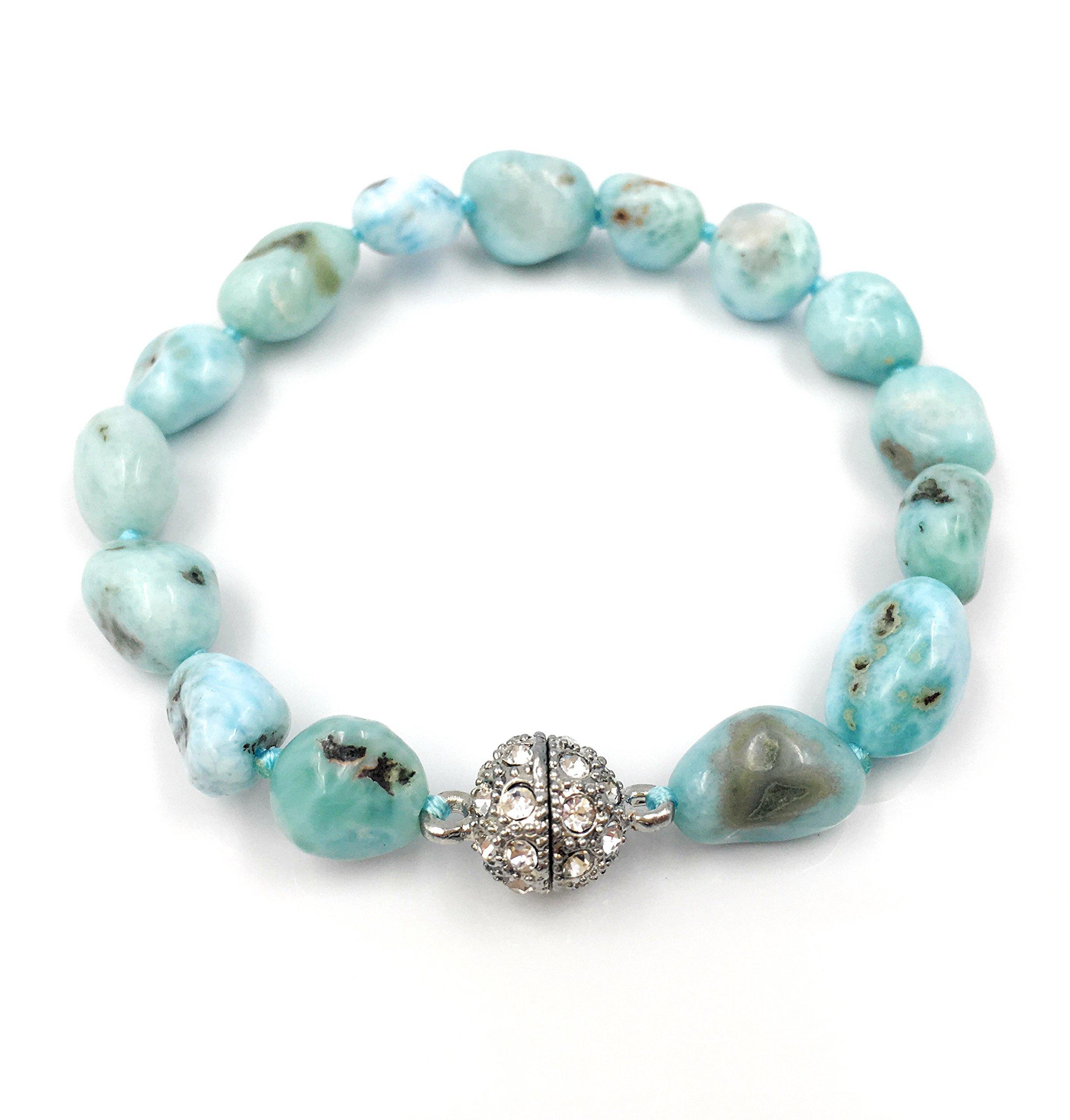 Natural Stone Larimar Bracelet Crystal Magnet Clasp 7.5''