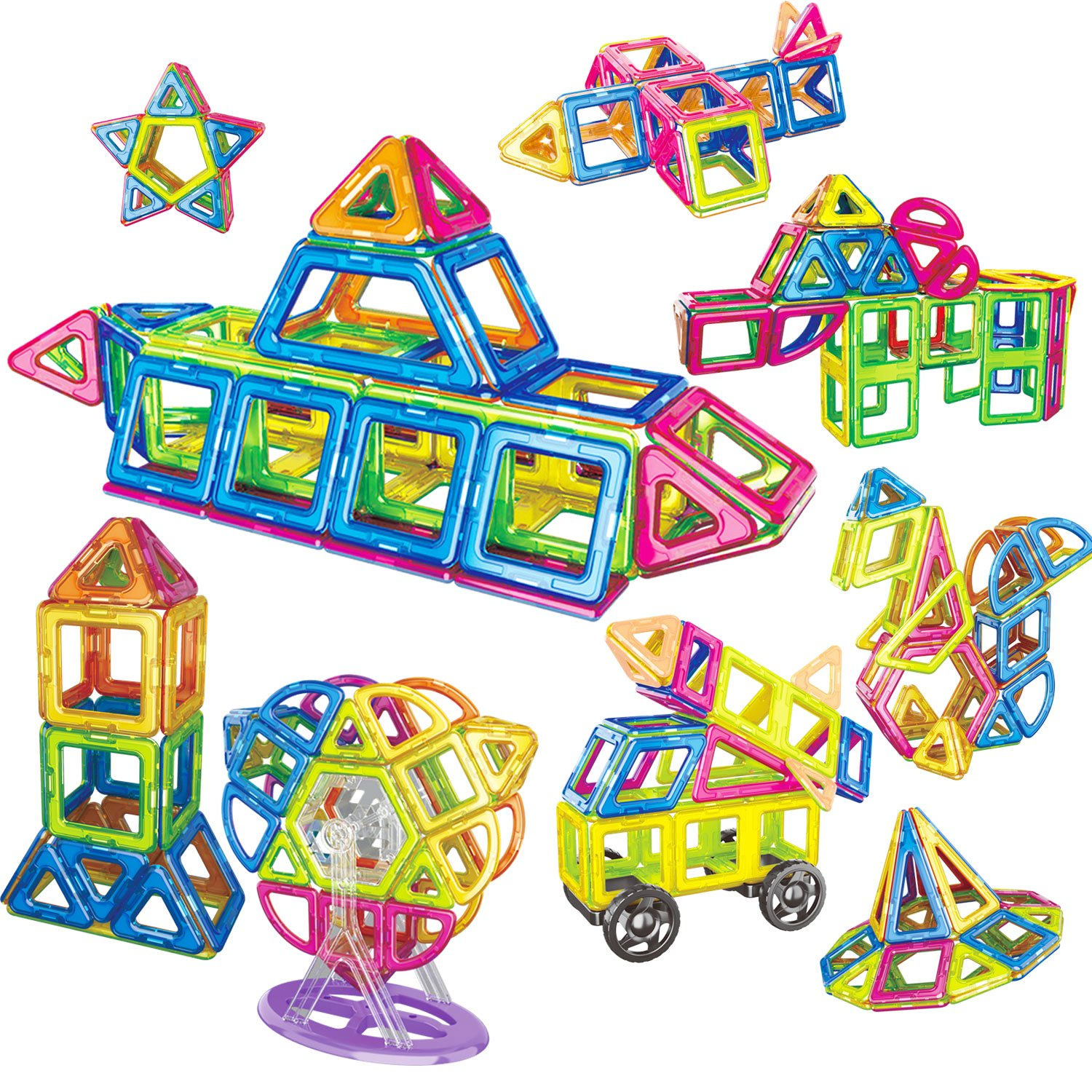 Magnetic Building Blocks Toys Set for Kids Include 87pcs Colorful Magnetic Blocks for DIY Playing KAWO