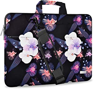 "Hseok Laptop Shoulder Bag 15 15.6 16 Inch Brifecase, Compatible MacBook Pro 16 15.4 Inch, XPS 15 Spill-Resistant Handbag with Shoulder Strap for Most 14""-16"" Notebooks, Jellyfish Flower"