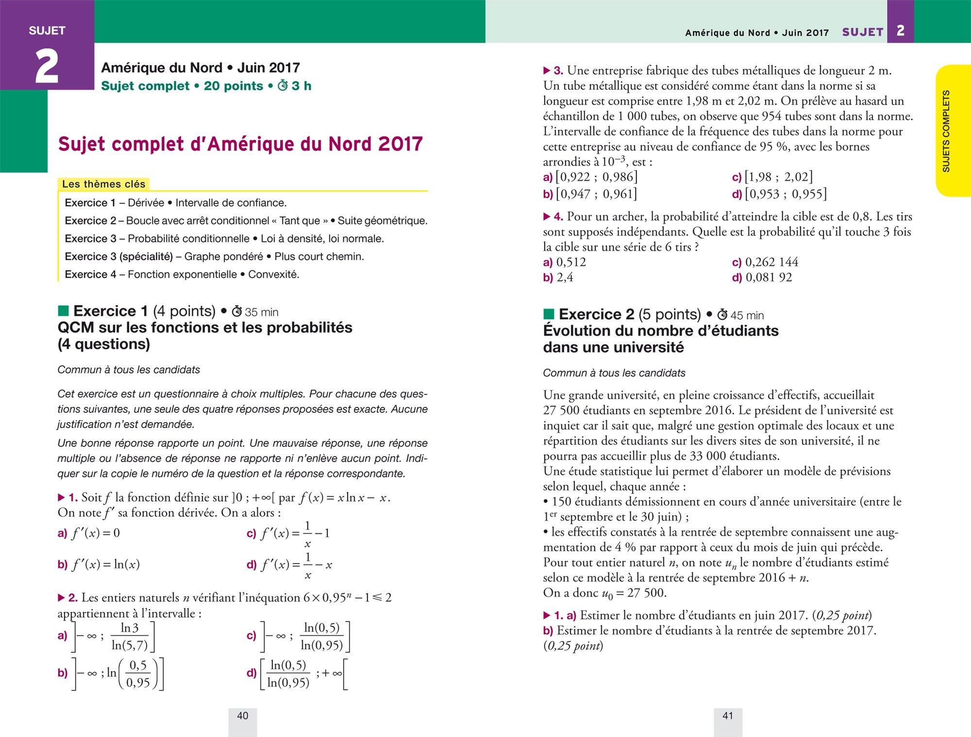 Annales Annabac 2018 Maths Tle ES, L: sujets et corrigés du bac Terminale ES (spécifique & spécialité), L (spécialité): 9782401030343: Amazon.com: Books